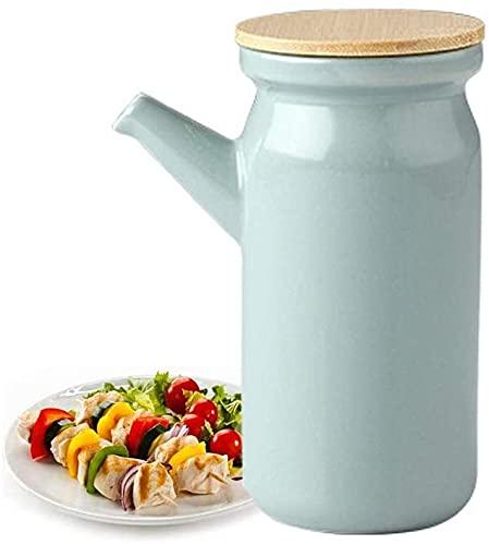 El aceite puede olivar o vinagre anti-fuga, Cerámica Botella de dispensador de aceite de 500 ml, vinagre de salsa de soja. Cena moderna. Dispensador de condimento líquido a prueba de polvo y a prueba