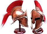 Medieval King Leonidas Armor Spartan 300 Roman Helmet on Wooden Stand