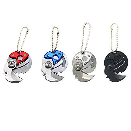 ZHU YU CHUN 4 Pcs Stainless Steel Folding Pocket Knifes Coin Shaped Keychain, Fun Gift (Black, Silver, Blue,Red)