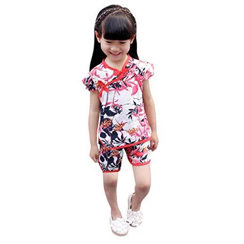 Xingxmei Costume De L'antiquité Tang Costume De Shorts Haut Cheongsam Imprimé Floral, T-shirt à Imprimé Floral Shorts Tenues Cheongsam