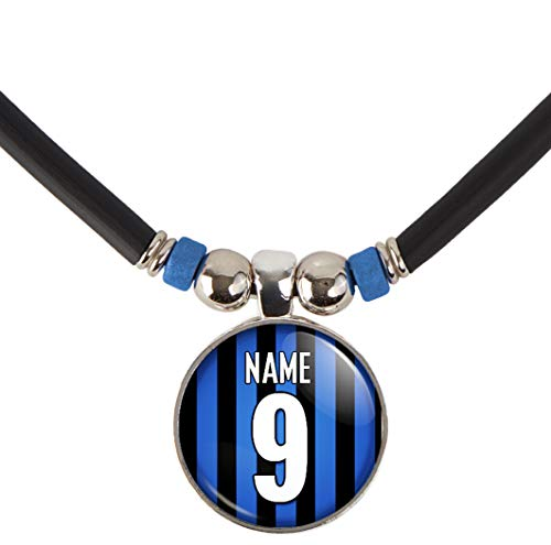Inter Milan Soccer Jersey Necklace Personalized with Your Name and Number, PERSONALIZE BY EMAIL
