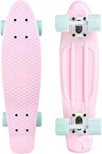 Hywot Kinder- Skateboard Mini Cruiser Skateboard Cruiser Brett Kunststoff-Skateboard 22
