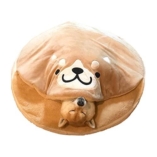N\B Cojín de la Mascota de Peluche Redondo, Estera para Dormir de Perro en Forma de dorayaki, patrón de Dibujos Animados Bordado Cojín para Perros de Mascotas