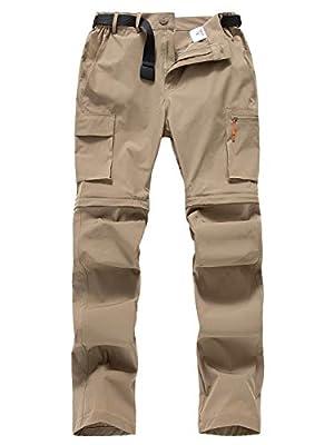 Gash Hao Mens Hiking Convertible Pants Outdoor Waterproof Quick Dry Zip Off Lightweight Fishing Pants (Khaki, 34W x 32L)