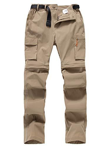 Gash Hao Outdoor Hiking Convertible Pants Mens Quick Dry Zip Off Lightweight Fishing Pants (Khaki 32x32)