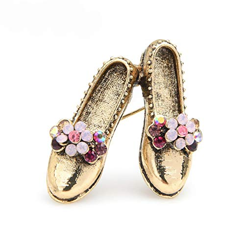 wangk Retro Vintage Shoes Brooches Women Metal Pink Rhinestone Flower Bowknot Shoes Brooch Pins Gifts