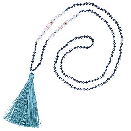 KELITCH Collier de Perles d'eau Douce pour Femmes Collier bohème à Pampilles chaînes en Cristal Nouveau