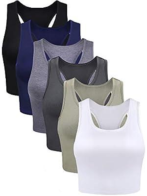 6 Pieces Basic Crop Tank Tops Sleeveless Racerback Crop Sport Cotton Top for Women (Black, White, Dark Grey, Navy, Grey, Olive, Small)
