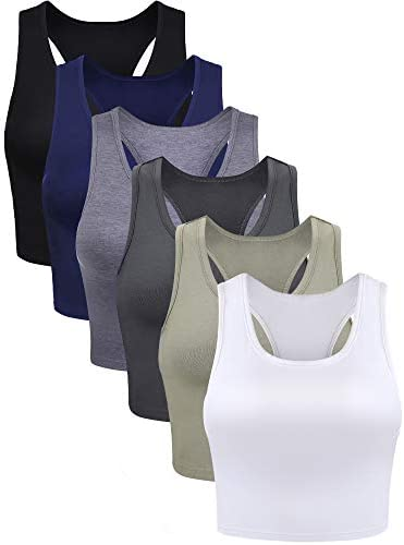 6 Pieces Basic Crop Tank Tops Sleeveless Racerback Crop Sport Cotton Top for Women Black White product image