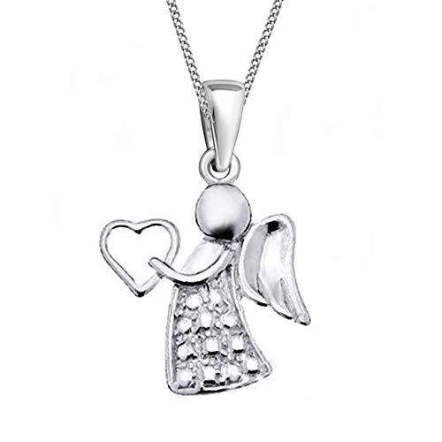 Schutzengel Anhänger + Kette 925 Echt Silber Kinder Damen Mädchen Engel (1) Silber, 38)