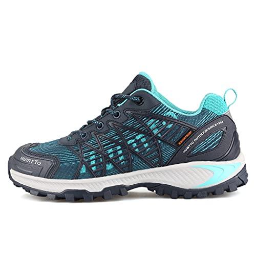 huasa Botas de Senderismo Hombre,Hombre Mujer Impermeables Zapatillas de Senderismo Montaña,Escalada Aire Libre Calzado Impermeable Ligero Antideslizantes Sneakers,38-Blue