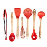 Silicone Cooking Utensils Set for Kitchen: 7 Piece Red Silicone Kitchen Utensil Set - BPA Free Heat Resistant Non Stick Silicone Tools with Wooden Handles - Kitchen Gadgets & Accessories Starter Sets
