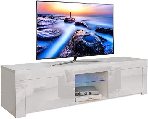 YOLEO Meuble TV Bas avec l'éclairage LED Bleu, Meuble TV Buffet Bas avec Portes,Armoire Tele Table Banc TV pour Salon-Séjour Chambre,Dimensions: 130x35x35 cm - Blanc