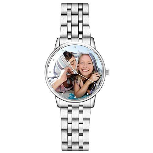 SOUFEEL Personalisierte Fotouhr Armbanduhr für Damen Herren Edelstahl Klassisch Analog Zifferblat täglich Wasserdicht 40mm - Silber