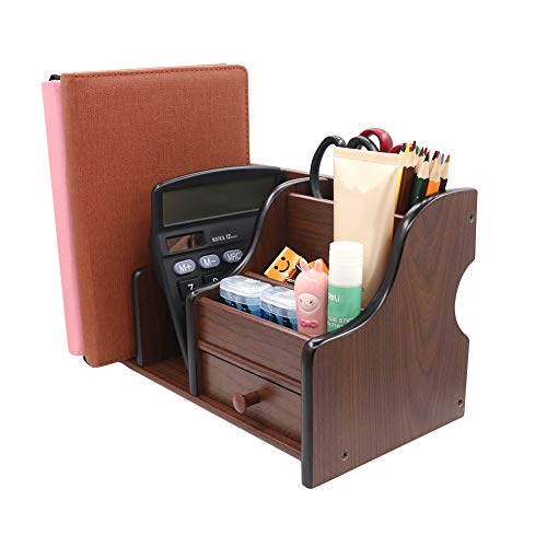 Coideal Wooden Office Supplies Desk Organizer with Drawer 6 Compartments Wood Desktop Storage Caddy Storage Holder Organizer for Mail, Pen Pencil (Brown & Black)