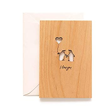 Penguin Love Laser Cut Wood Card [Personalized Gifts Custom Message Love Anniversary Wedding Birthday Just Because]