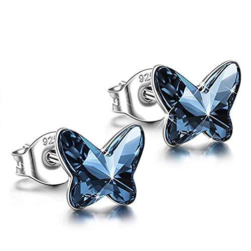 Cielo Azul Cristal Flor Delicada /& Pendientes de Mariposa en rodio platino