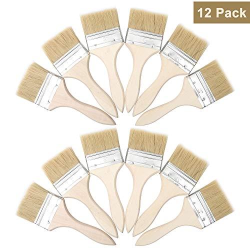 Farbpinsel (12er Set) -Acrylpinsel Set Pinsel zum Streichen und Lackieren Größe 7,6cm (3