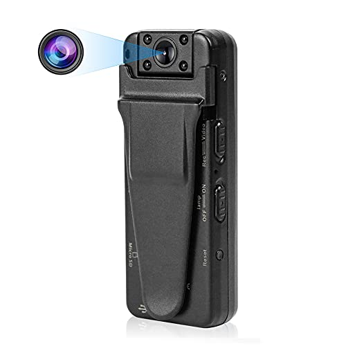 DEXILIO Mini Wearable Body Camera , 1080P Portable Small Camcorder with Night Vision/Motion Detection, Micro Security Surveillance Spy Hidden Camera for Indoor and Outdoor,with 32GB Card(No WiFi)