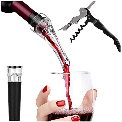 Set apribottiglie 3 in 1 Cavatappi da vino ad aria Versatore aeratore antigoccia Apribottiglie per la pompa a pressione dell'aria per Bar Home Kitchen
