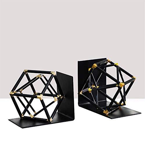 XLL Art Deco Buchstütze Kreative geometrische Buchstützen Metall 1 Paar Art Desktop Buchstützen Studierdekorationen (Farbe: Schwarz, Größe: Einheitsgröße)