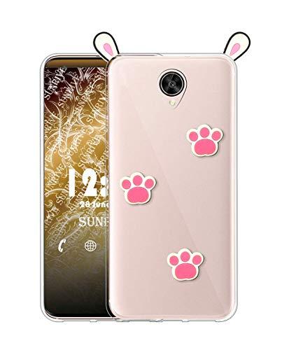 Sunrive Kompatibel mit Meizu Pro 6 Plus Hülle Silikon, Transparent Handyhülle Schutzhülle Etui 3D Hülle (A1 Kaninchen)+Gratis Universal Eingabestift MEHRWEG