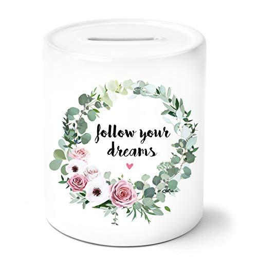 OWLBOOK Follow Your Dreams mit Blumenkranz Spardose Personalisiert mit Namen Geschenke Geschenkideen für Mädchen zum Geburtstag Weihnachten