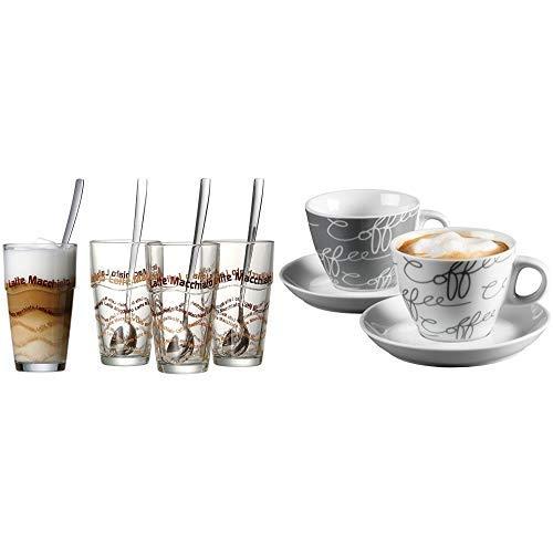 Ritzenhoff & Breker Latte Macchiato Gläser-Set, 8-teilig mit Löffel &  Cappuccino-Set Cornello 4-teilig, Grau, 180 ml