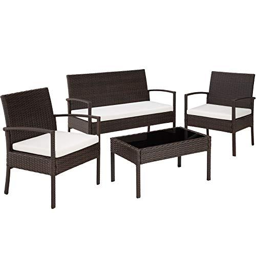 TecTake Conjunto muebles de Jardín en Poly Ratan Sintetico - negro 4 plazas, 2 sillones, 1 mesa...