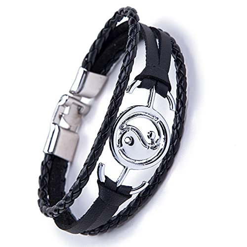 Handmade Black Leather Bracelet High Quality Antique Silver Color Tai Chi Charm Bracelet For Men Jewelry