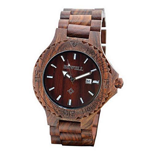 Relojes Reloj de Pulsera con función de Calendario de Fecha de Madera de Sandlewood Rojo Hecho a Mano para Hombre con Luminoso, Relojes Regalo de Navi