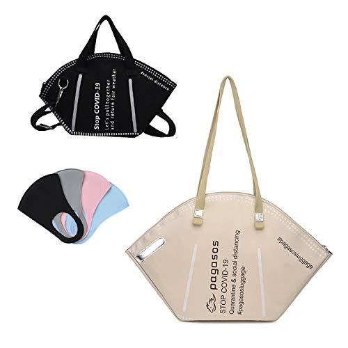 SISITAR Bolso de mano con diseño de máscara de moda, gran capacidad, gran capacidad, bolso de mano de lona