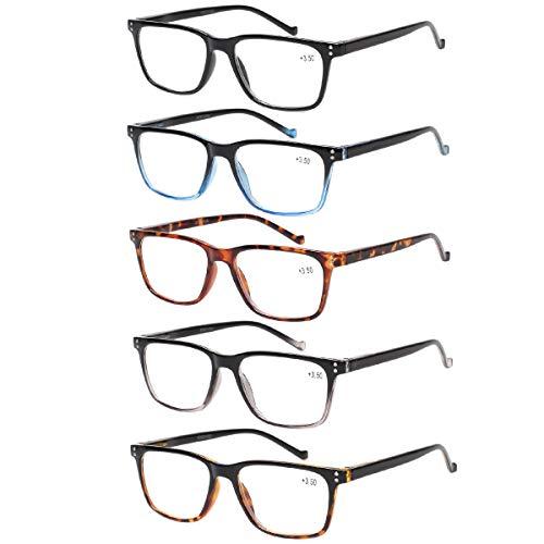 5 Pack Reading Glasses Men Women Spring Hinges Comfortable Glasses for Reading (5 Mix, 1.75)