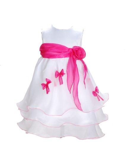 Cinda Mädchen Partykleid Weiß und Fuchsia 80-86(Fabriknummer 6)