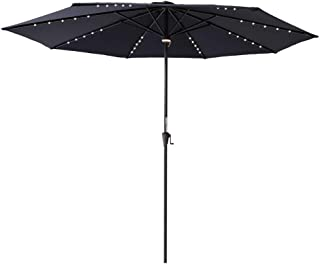 C-Hopetree 11' Outdoor Patio Umbrella with Solar LED Lights and Aluminum Pole for Outside Table Deck Balcony or Poolside, Navy Blue