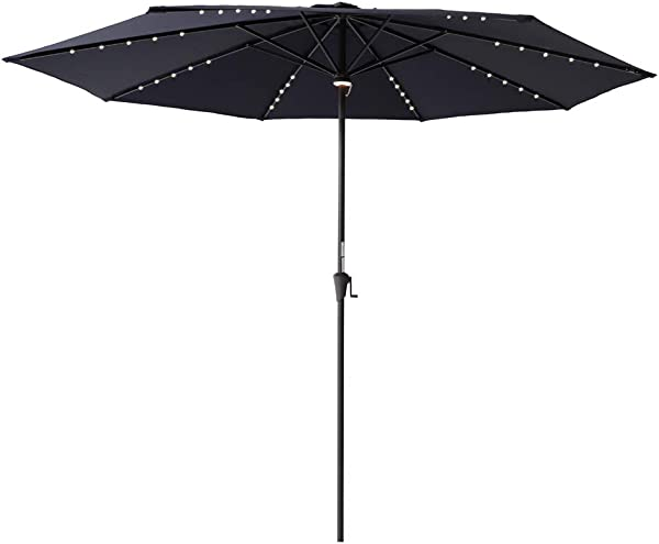 C Hopetree 11 Outdoor Patio Umbrella With Solar LED Lights And Aluminum Pole For Outside Table Deck Balcony Or Poolside Navy Blue