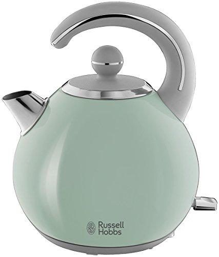 Russell Hobbs Wasserkocher Bubble grün, 1,5l, 2300 Watt, abnehmbarer Deckel, herausnehmbarer Kalkfilter, Wasserstandsanzeige, retro, vintage Teekocher 24404-70