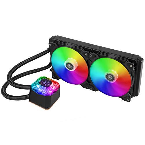SilverStone SST-IG280-ARGB IceGem AIO - Enfriador líquido (2 ventiladores PWM de 140 mm, procesador Intel 115x/2066, AMD AM4)