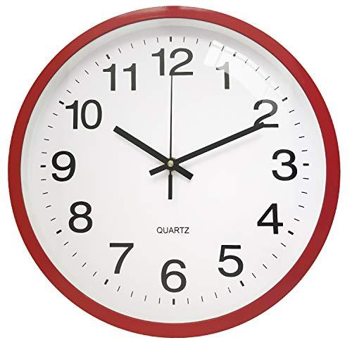 TOPPTIK Moderno reloj de pared digital de calidad reloj de pared a pilas sin tictac, redondo, decorativo para cocina, oficina, dormitorio (Rojo, 30 cm)