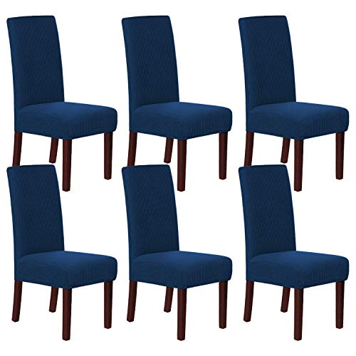 H.VERSAILTEX Stretch Dining Chair Covers Chair Covers for Dining Room Set of 6 Parson Chair Covers Slipcovers Chair Protectors Covers Dining, Feature Textured Checked Jacquard Fabric, Navy
