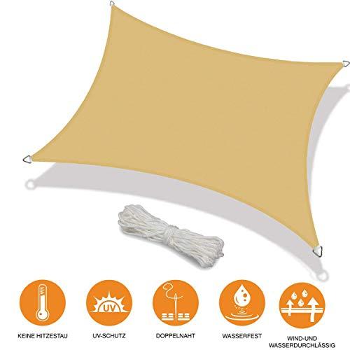 Toldo Vela de Sombra Rectangular Toldo Vela Cuadrado Prevención Rayos UV Solar protección para Jardin Terraza Patio Gris - Beige 3x4m
