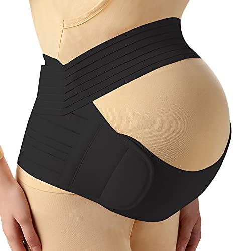 Maternity Belt, 3-in-1 Belly Band Support for Pelvic/ Back/ Waist Pain Relief, Maternity Band Belly Support for Pregnancy with Adjustable Size and Lightweight Materials (Black Color, Large Size)