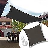Froadp 5x5m Sonnensegel Quadrat Reißfestigkeit Windschutz Durchlässig Sonnenschutz mit Seil für Camping Terrasse Balkon Garten Outdoor(Anthrazit)