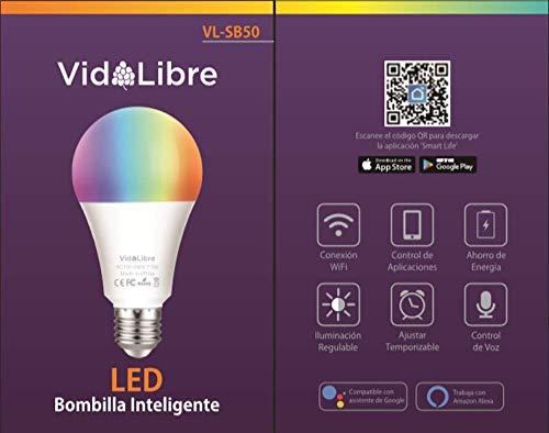 VidALibre Intelligente ledlamp, wifi, meerkleurig, dimbaar, besturing met Alexa/Google Home/IFTTT, lamp E27 en 7,5 W, Smart Control-app