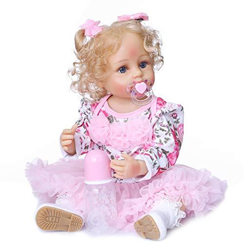 MNMJ Reborn Baby Dolls Silicone Full Body Girls, 22 Inch Blonde Hair Realistic Looking Life Like Baby Doll, Vinyl Reborn Doll Gift Set for Girl Kids