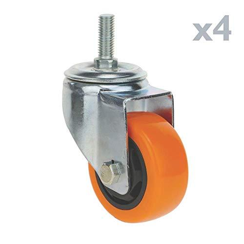 PrimeMatik - Rueda pivotante Industrial de Poliuretano sin Freno 75 mm M12 4-Pack