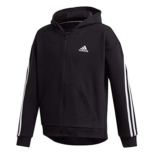 adidas Mädchen G 3S FZ HD Sweatshirt, Black/White, 1112