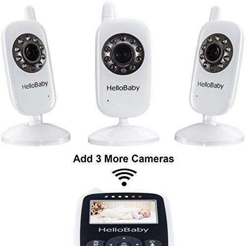 HelloBaby HB24 Bébé Moniteur Baby Monitor 2.4' Écran LCD Couleur 2.4 GHz Vidéo Numérique...