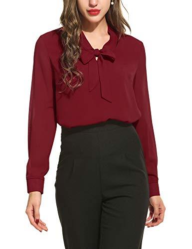 ACEVOG Damen Elegant Business Chiffonbluse Schluppenshirt T-Shirt mit Schleife V-Ausschnitt Bluse Hemd Oberteil S, Weinrot_a