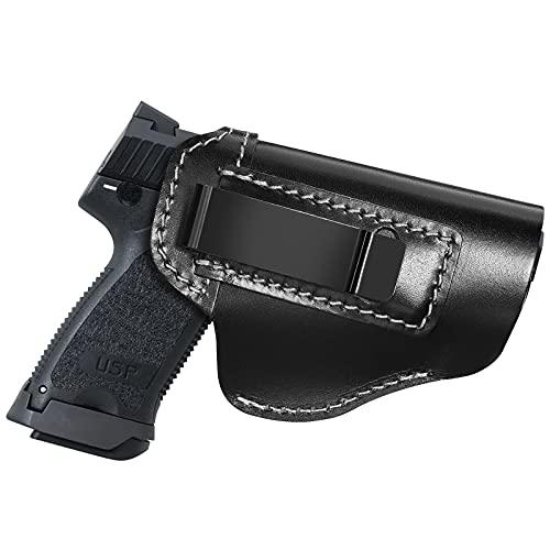 Procase Funda de Pistola IWB, Funda de Cuero para Cinturón, Cartucheras Pistolas Interior Suave Muy Resistente -Zurdos